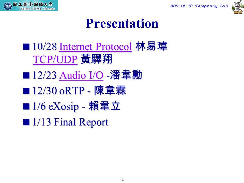 14 TAC2000/2000.7 802.16 IP Telephony Lab Presentation  10/28 Internet Protocol 林易瑋 TCP/UDP 黃驛翔 Internet ProtocolTCP/UDPInternet ProtocolTCP/UDP  12/23 Audio I/O - 潘韋勳 Audio I/OAudio I/O  12/30 oRTP - 陳韋霖  1/6 eXosip - 賴韋立  1/13 Final Report