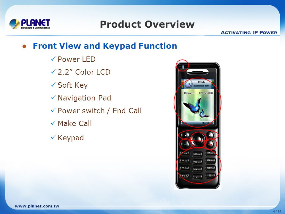 """www.planet.com.tw 4 / 14 Product Overview Front View and Keypad Function Power LED 2.2"""" Color LCD Soft Key Navigation Pad Power switch / End Call Make"""
