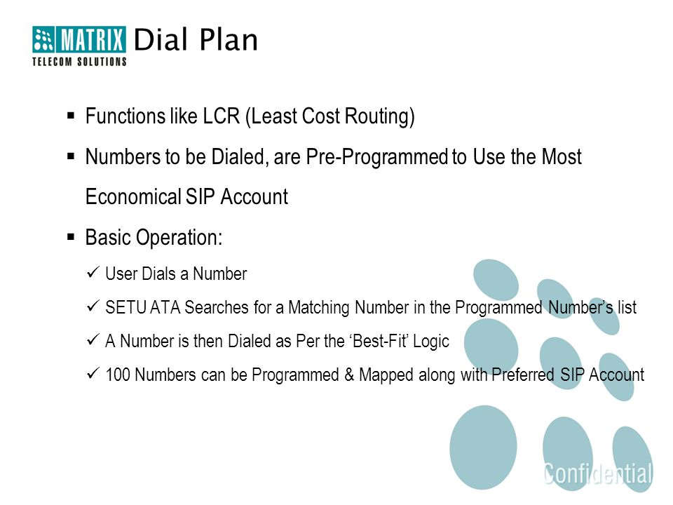 Dial Plan  Functions like LCR (Least Cost Routing)  Numbers to be Dialed, are Pre-Programmed to Use the Most Economical SIP Account  Basic Operatio