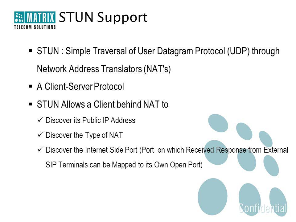  STUN : Simple Traversal of User Datagram Protocol (UDP) through Network Address Translators (NAT's)  A Client-Server Protocol  STUN Allows a Clien