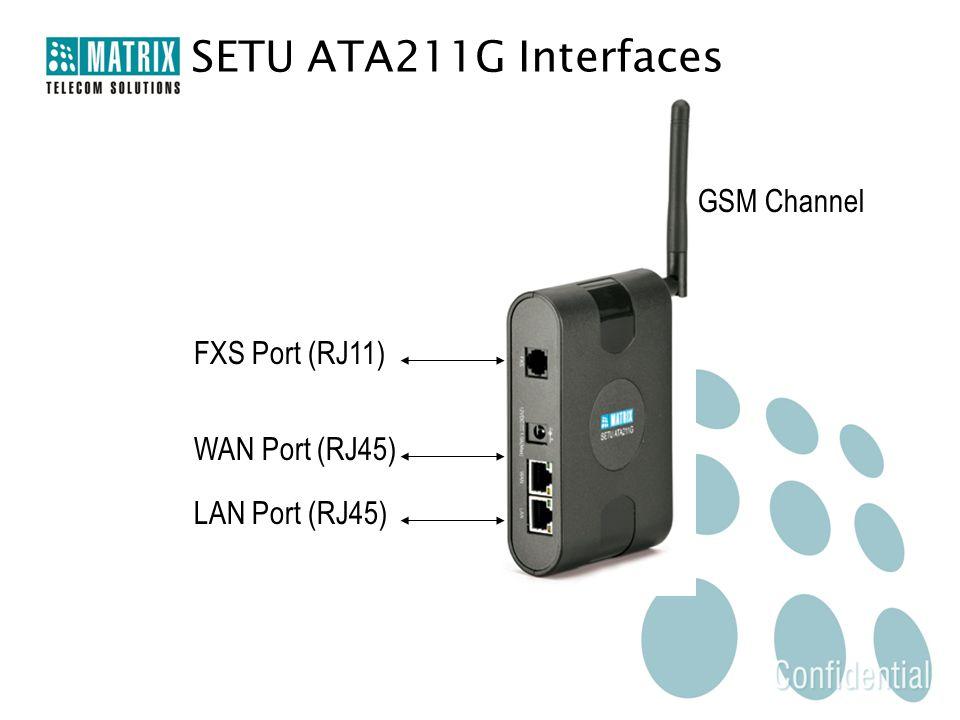SETU ATA211G Interfaces WAN Port (RJ45) FXS Port (RJ11) LAN Port (RJ45) GSM Channel
