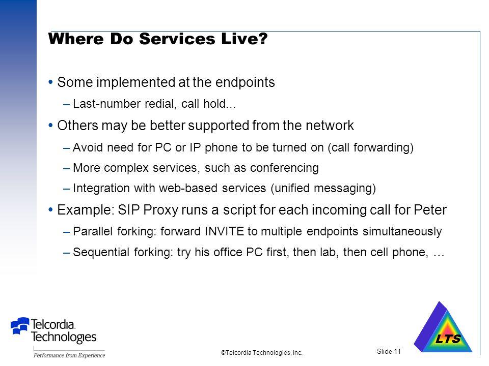LTS ©Telcordia Technologies, Inc. Slide 10 SIP Call Setup Simplified View LindaPeter lts.ncsc.miltelcordia.com Proxy DNS Location server Media Streams