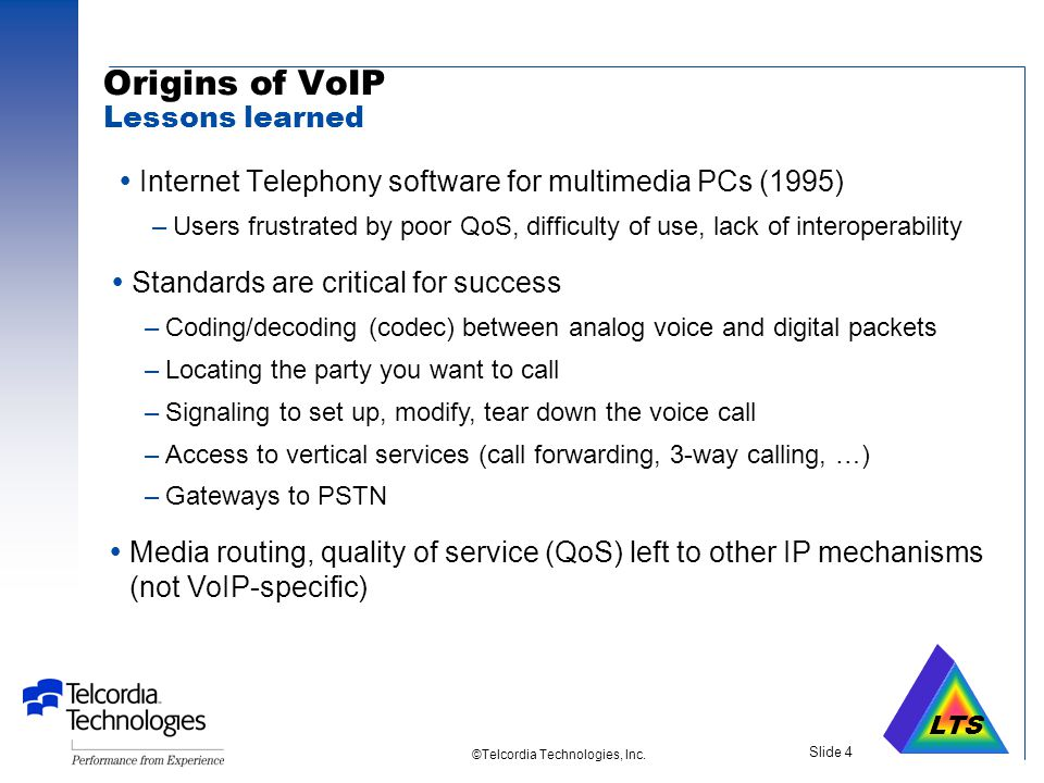 LTS ©Telcordia Technologies, Inc. Slide 3 Outline  Why Voice over IP.