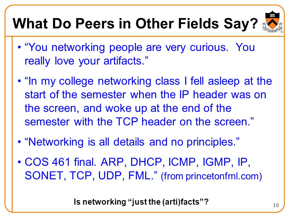 What Do Peers in Other Fields Say. You networking people are very curious.