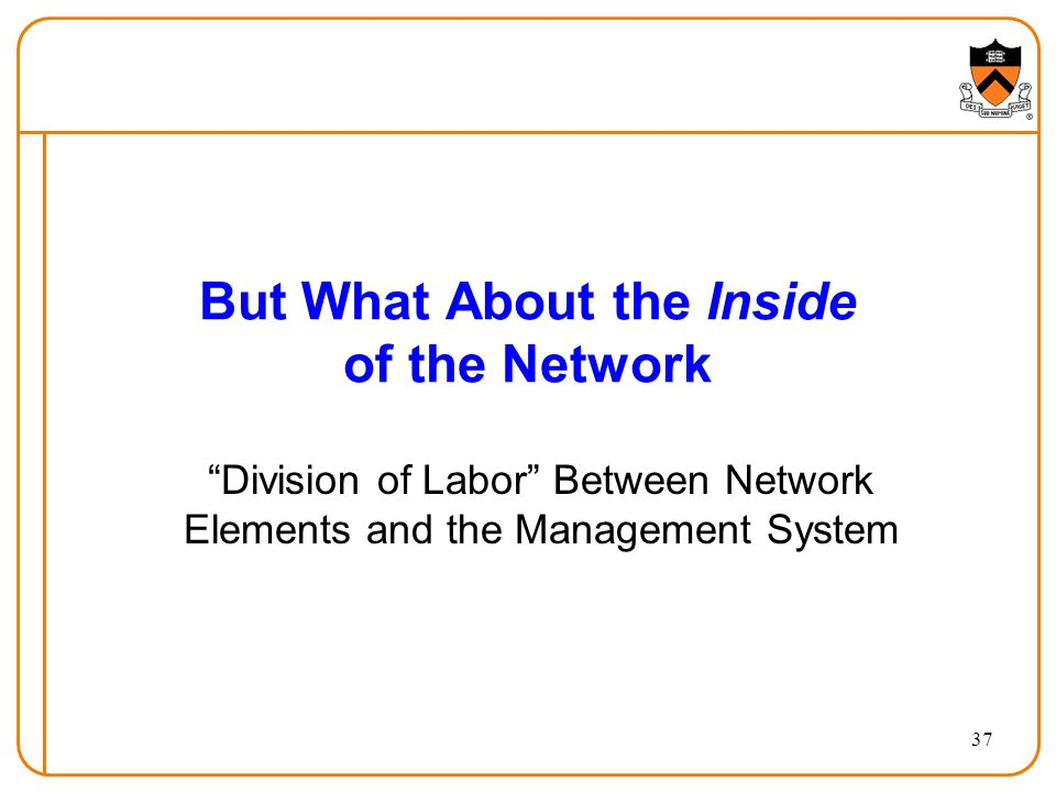But What About the Inside of the Network Division of Labor Between Network Elements and the Management System 37
