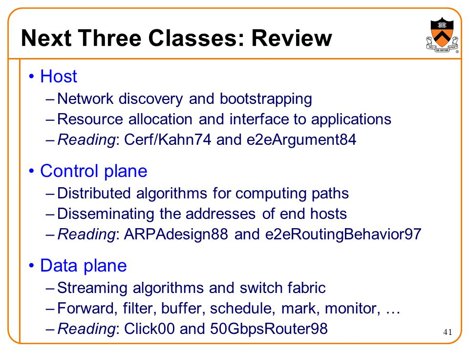 Next Three Classes: Review Host –Network discovery and bootstrapping –Resource allocation and interface to applications –Reading: Cerf/Kahn74 and e2eArgument84 Control plane –Distributed algorithms for computing paths –Disseminating the addresses of end hosts –Reading: ARPAdesign88 and e2eRoutingBehavior97 Data plane –Streaming algorithms and switch fabric –Forward, filter, buffer, schedule, mark, monitor, … –Reading: Click00 and 50GbpsRouter98 41