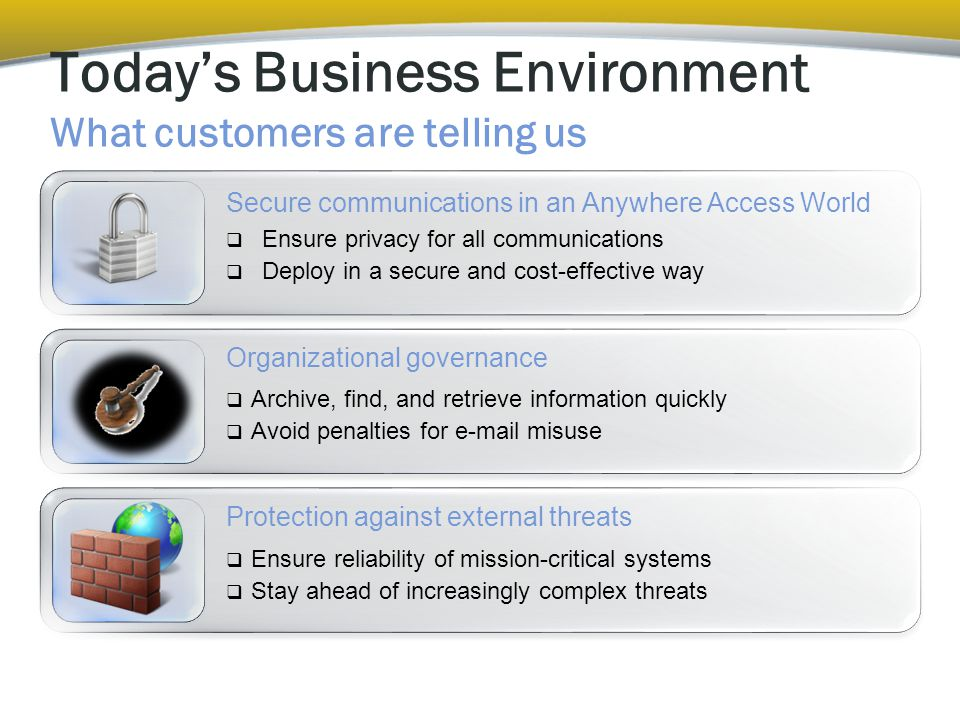  Archive, find, and retrieve information quickly  Avoid penalties for e-mail misuse Today's Business Environment What customers are telling us Organizational governance Protection against external threats  Ensure reliability of mission-critical systems  Stay ahead of increasingly complex threats Secure communications in an Anywhere Access World  Ensure privacy for all communications  Deploy in a secure and cost-effective way