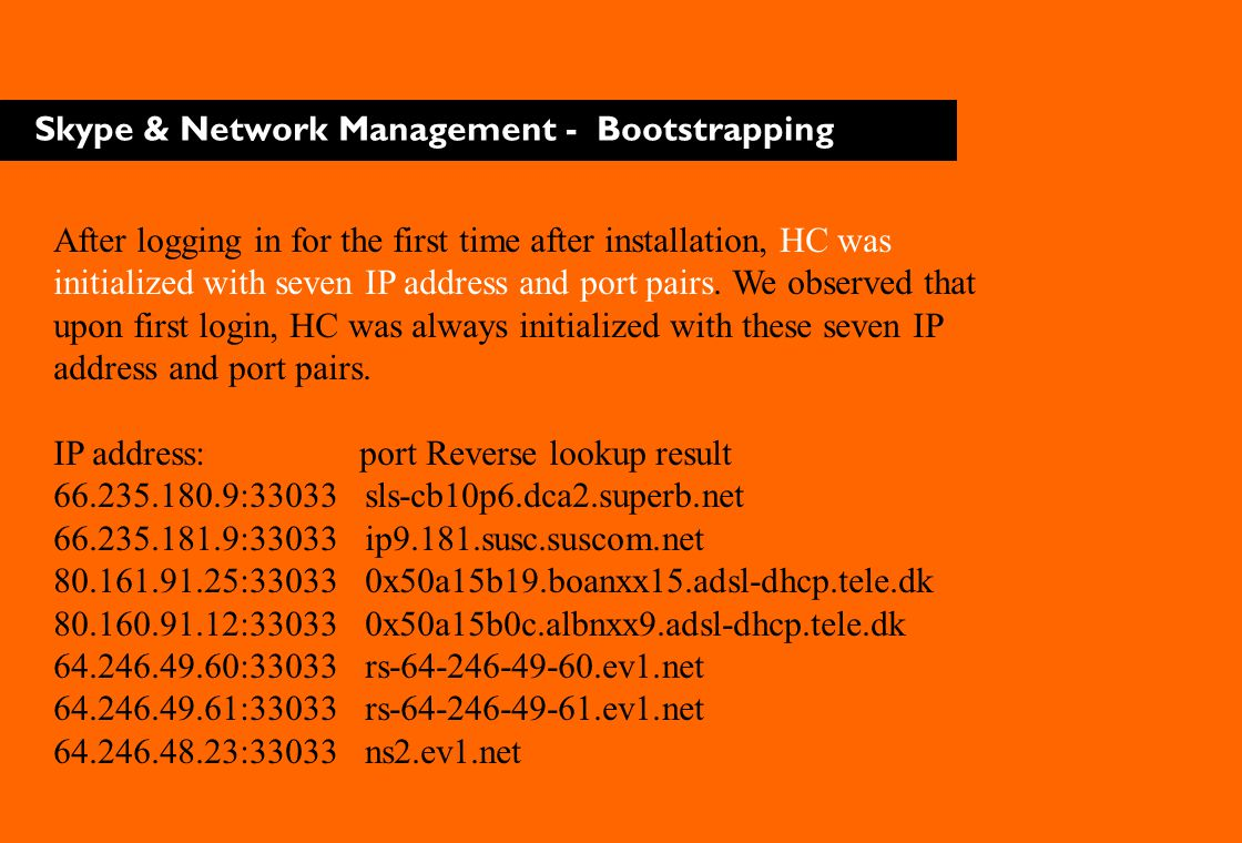 Skype & Network Management - Bootstrapping After logging in for the first time after installation, HC was initialized with seven IP address and port p