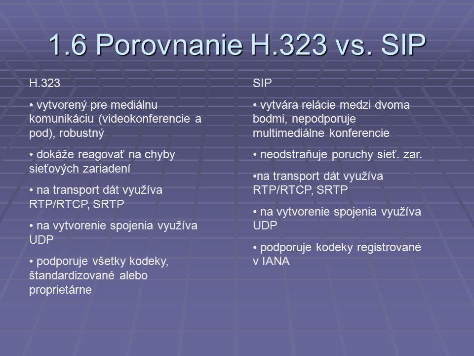 1.6 Porovnanie H.323 vs.