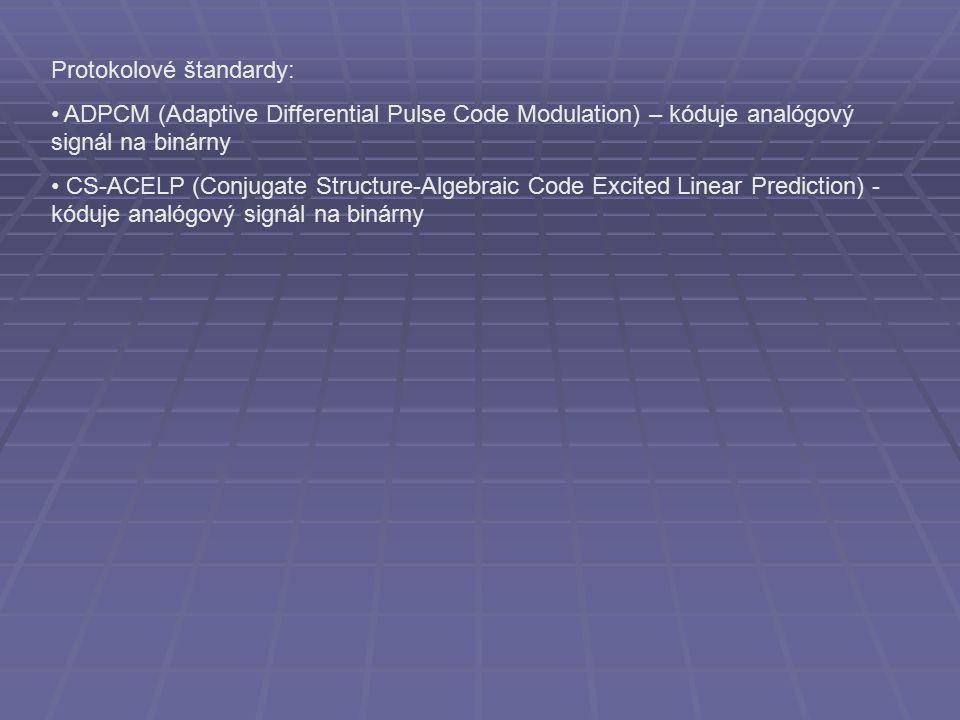Protokolové štandardy: ADPCM (Adaptive Differential Pulse Code Modulation) – kóduje analógový signál na binárny CS-ACELP (Conjugate Structure-Algebraic Code Excited Linear Prediction) - kóduje analógový signál na binárny