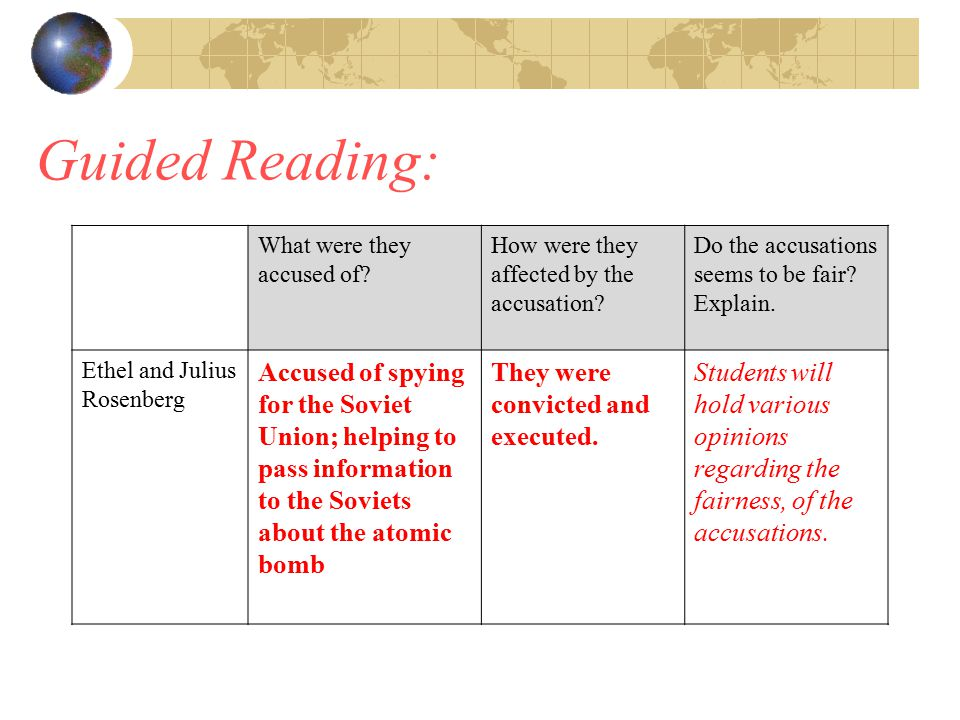 Guided Reading: What were they accused of.How were they affected by the accusation.