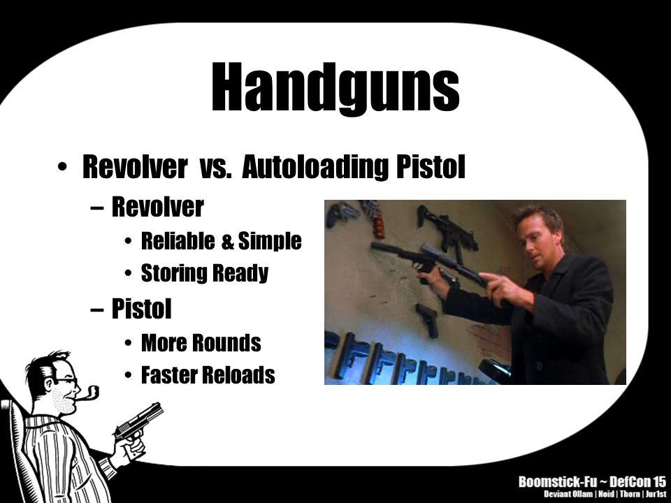 Handguns Revolver vs. Autoloading Pistol –Revolver Reliable & Simple Storing Ready –Pistol More Rounds Faster Reloads