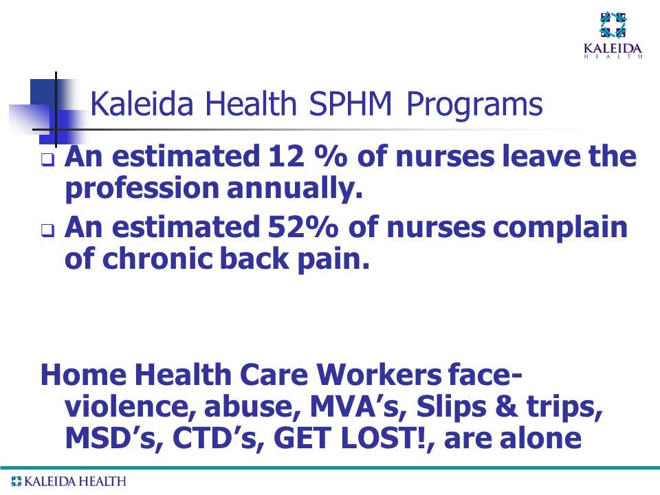 . Kaleida Health SPHM Programs  An estimated 12 % of nurses leave the profession annually.  An estimated 52% of nurses complain of chronic back pain