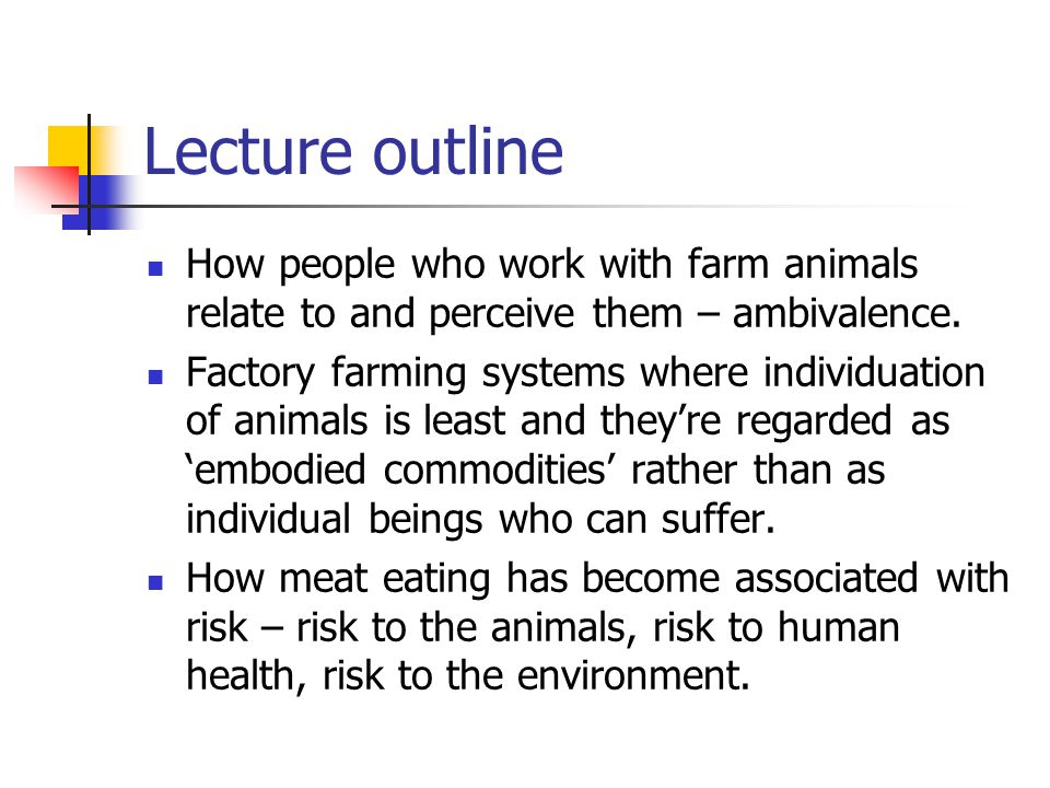 Lecture outline How people who work with farm animals relate to and perceive them – ambivalence.