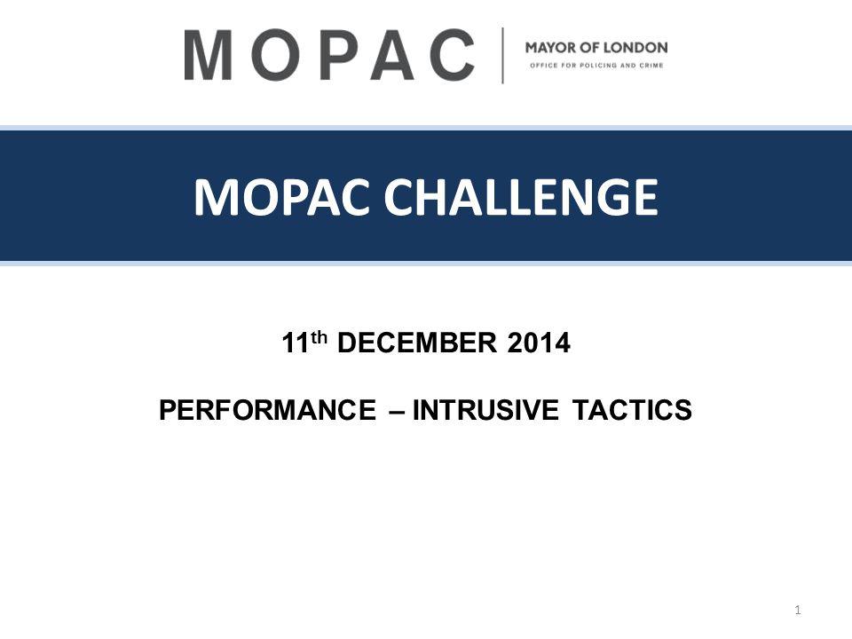 MOPAC CHALLENGE 11 th DECEMBER 2014 PERFORMANCE – INTRUSIVE TACTICS 1