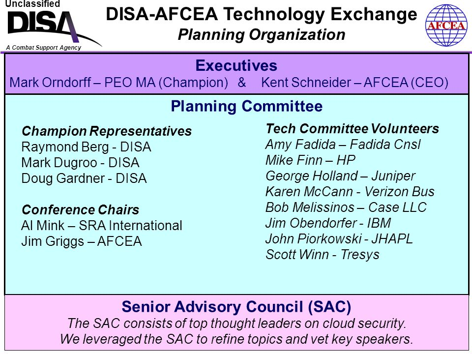 A Combat Support Agency Unclassified DISA-AFCEA Technology Exchange Final Reminders….