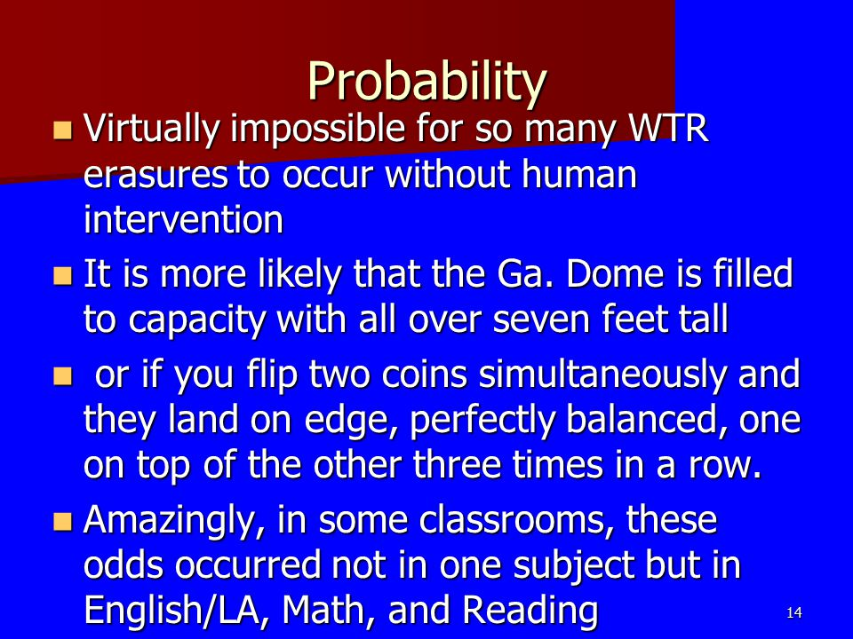 Probability Virtually impossible for so many WTR erasures to occur without human intervention Virtually impossible for so many WTR erasures to occur w