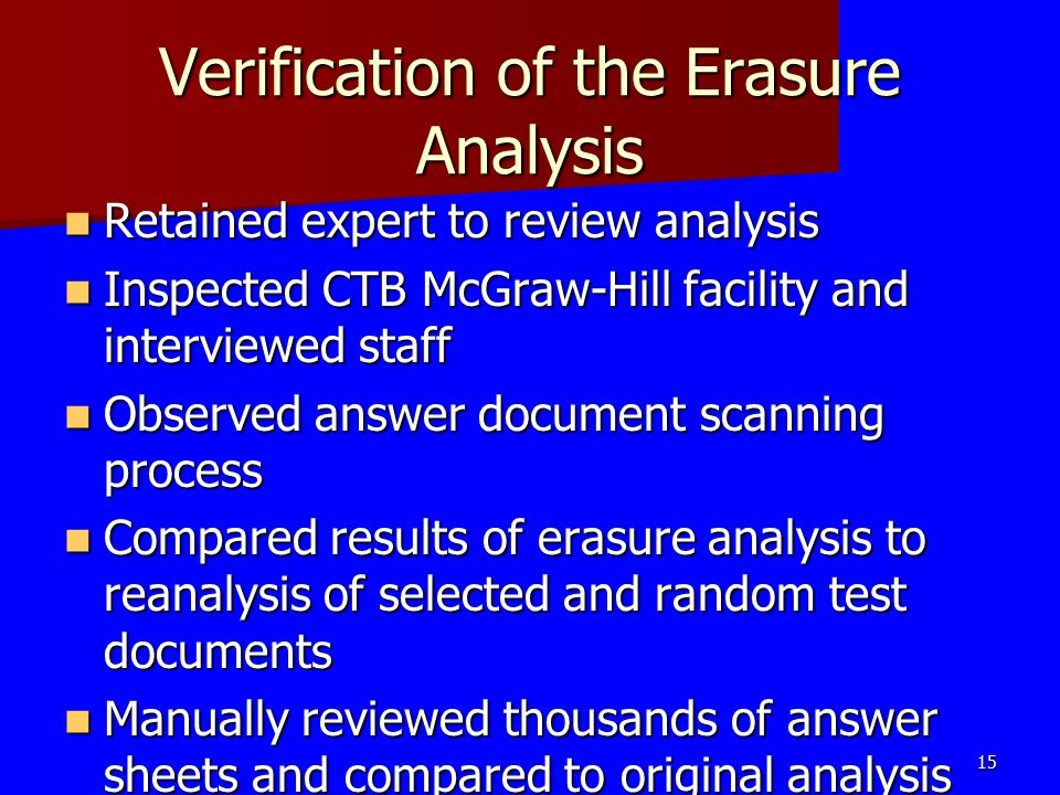 Verification of the Erasure Analysis Retained expert to review analysis Retained expert to review analysis Inspected CTB McGraw-Hill facility and inte