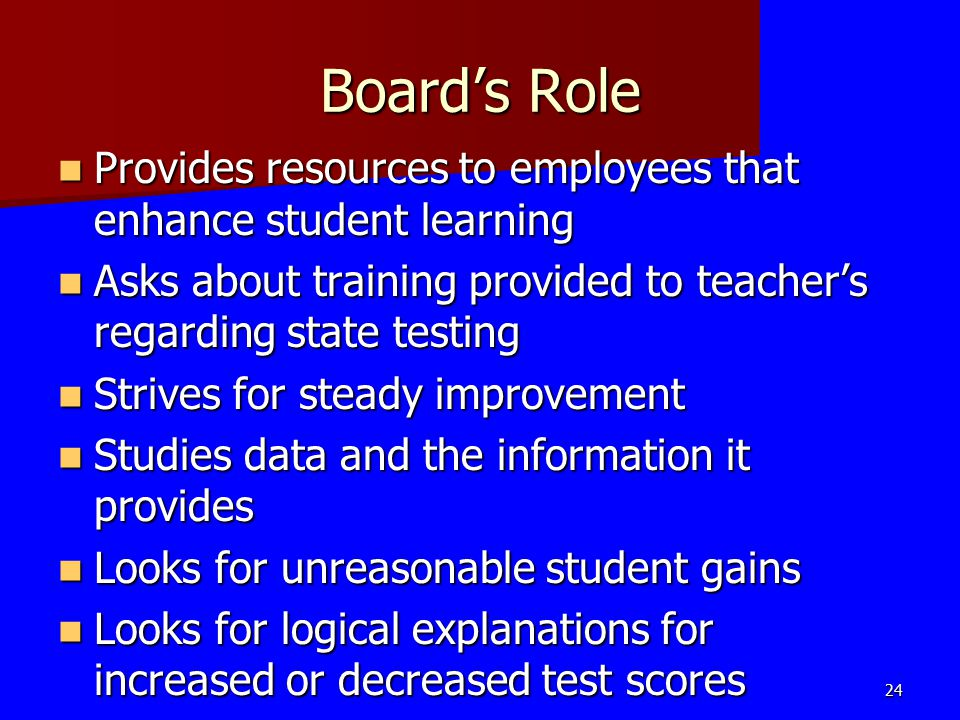 Board's Role Provides resources to employees that enhance student learning Provides resources to employees that enhance student learning Asks about tr