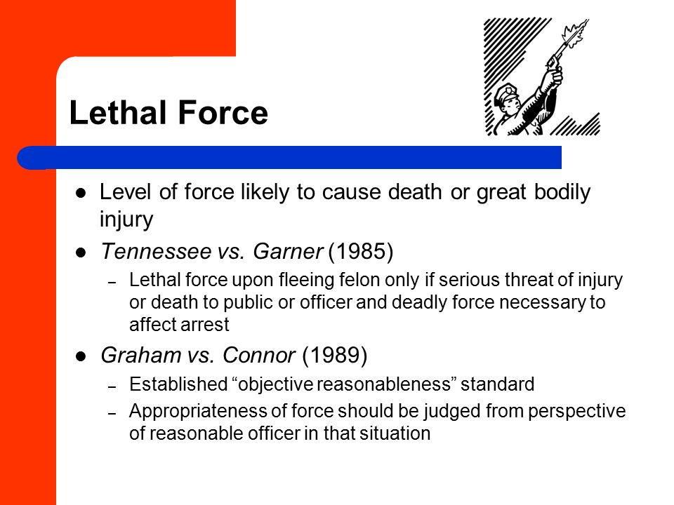 Lethal Force Level of force likely to cause death or great bodily injury Tennessee vs.