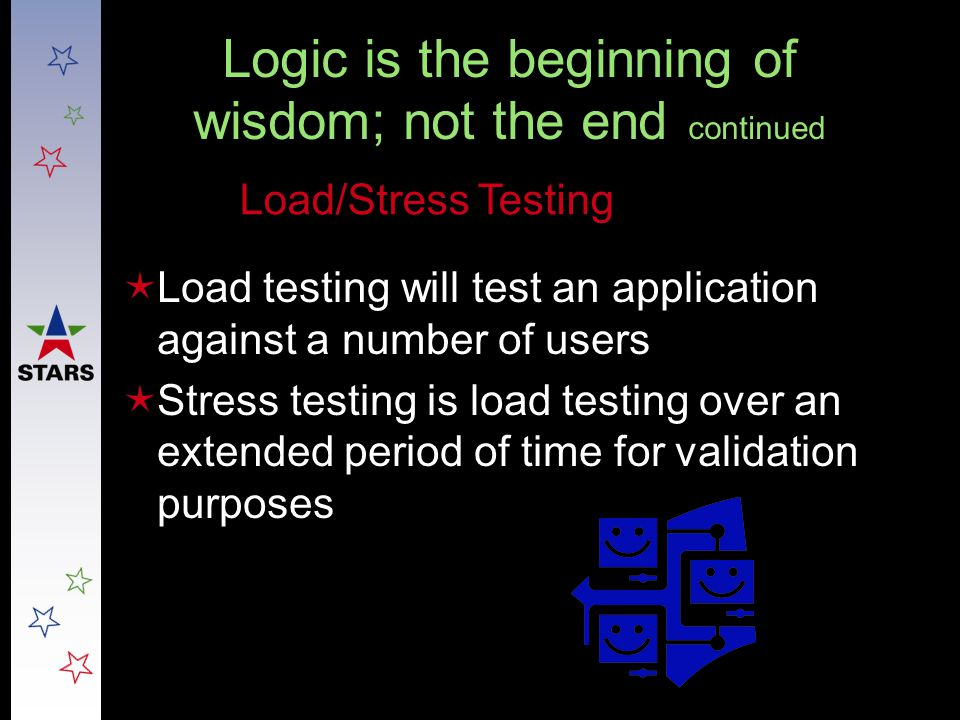 Logic is the beginning of wisdom; not the end continued  Load testing will test an application against a number of users  Stress testing is load tes