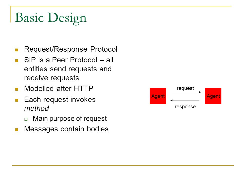 SIP Design Philosophy Patterned after other Successful Internet Standards  HTTP Don't Reinvent the PSTN General Purpose Functionality Do Not Dictate