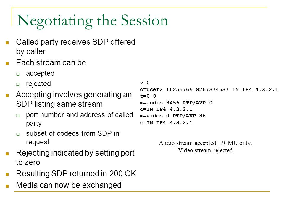 Anatomy of SDP SDP contains informational headers  version (v)  origin(o) - unique ID  information (I) Time of the session Followed by a sequence o