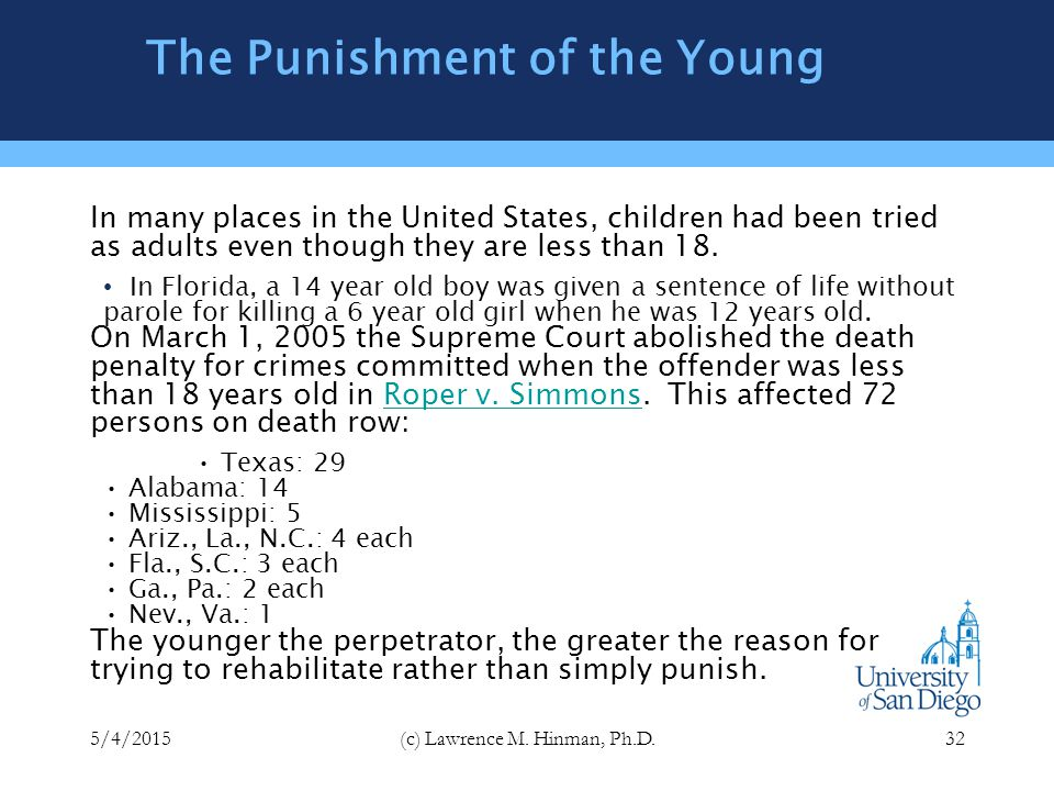 Continuing Issues of Punishment Punishment of the young Chronic offenders Privatization of punishment Hard time and stun technology Race and punishment 5/4/2015(c) Lawrence M.