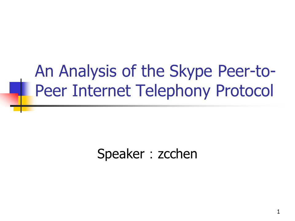 1 An Analysis of the Skype Peer-to- Peer Internet Telephony Protocol Speaker : zcchen
