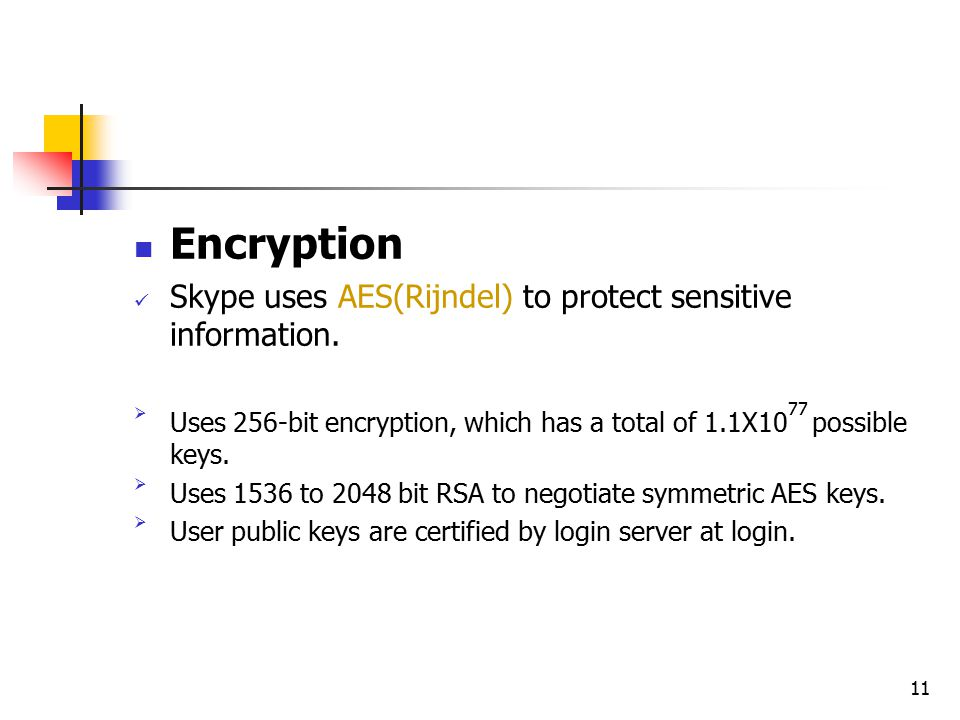 11 Encryption Skype uses AES(Rijndel) to protect sensitive information.