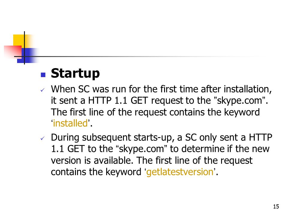 "15 Startup When SC was run for the first time after installation, it sent a HTTP 1.1 GET request to the "" skype.com "". The first line of the request c"