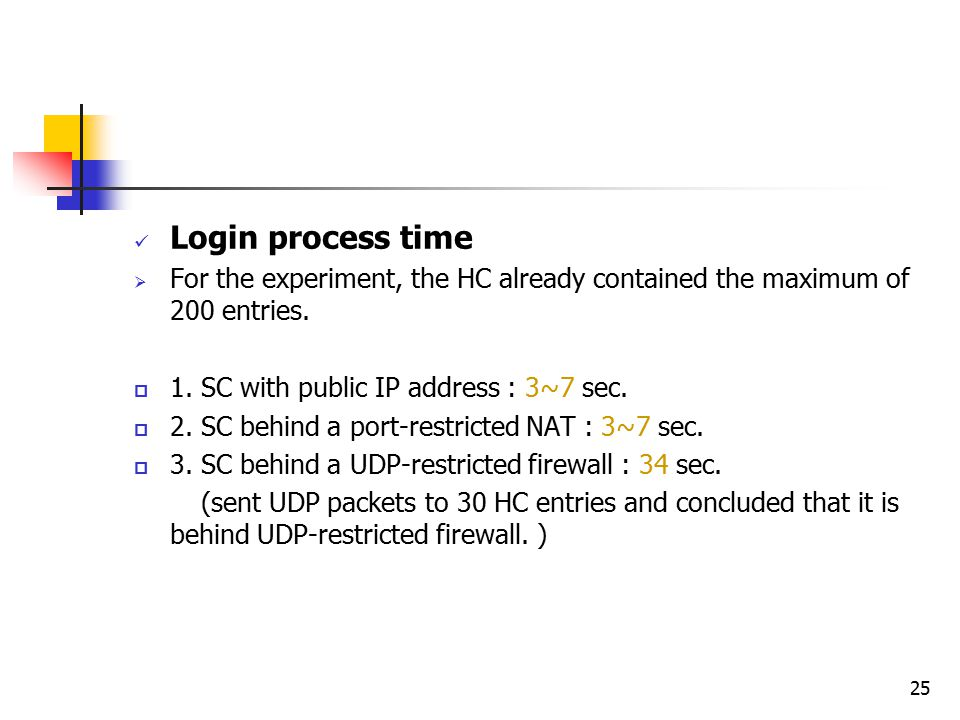 25 Login process time  For the experiment, the HC already contained the maximum of 200 entries.  1. SC with public IP address : 3~7 sec.  2. SC beh