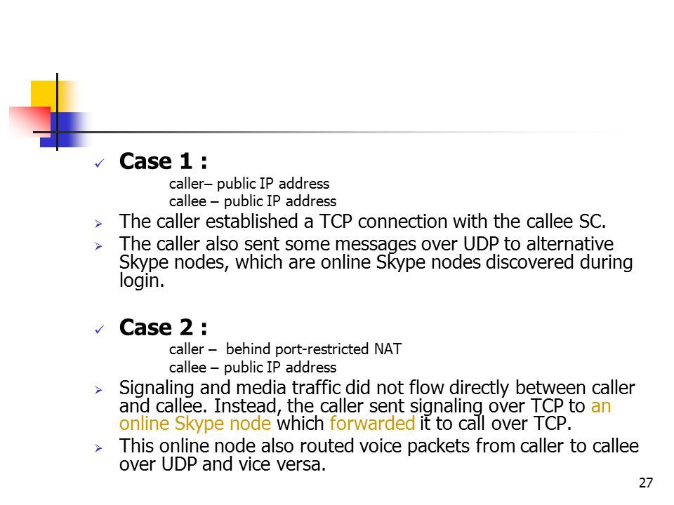 27 Case 1 : caller – public IP address callee – public IP address  The caller established a TCP connection with the callee SC.  The caller also sent