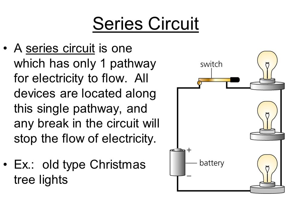 Series Circuit A series circuit is one which has only 1 pathway for electricity to flow. All devices are located along this single pathway, and any br