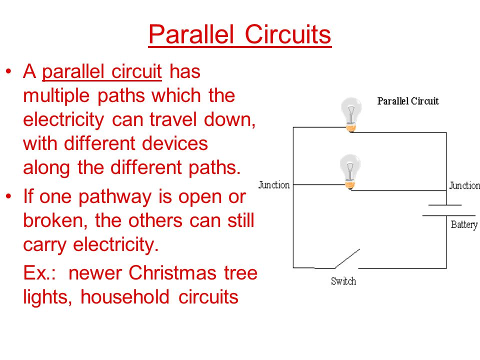 Parallel Circuits A parallel circuit has multiple paths which the electricity can travel down, with different devices along the different paths. If on