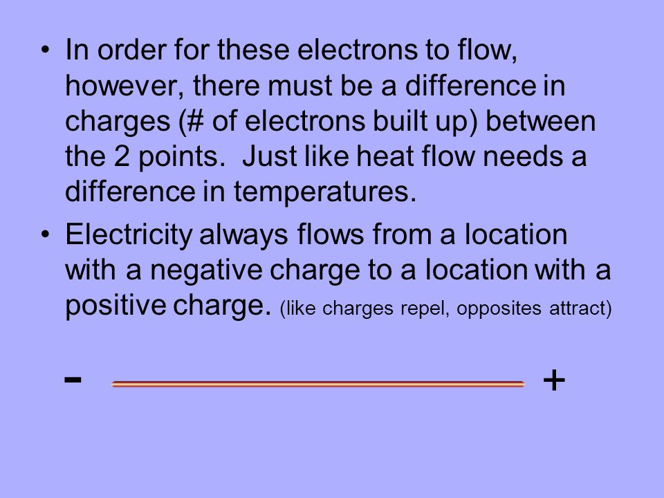 In order for these electrons to flow, however, there must be a difference in charges (# of electrons built up) between the 2 points. Just like heat fl