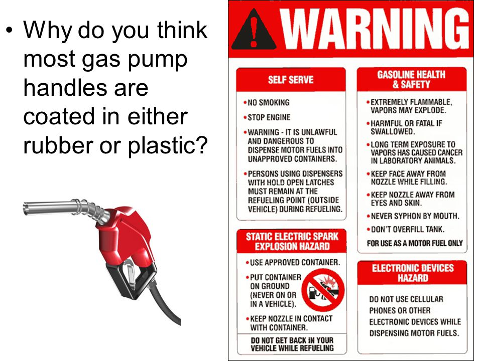 Why do you think most gas pump handles are coated in either rubber or plastic?
