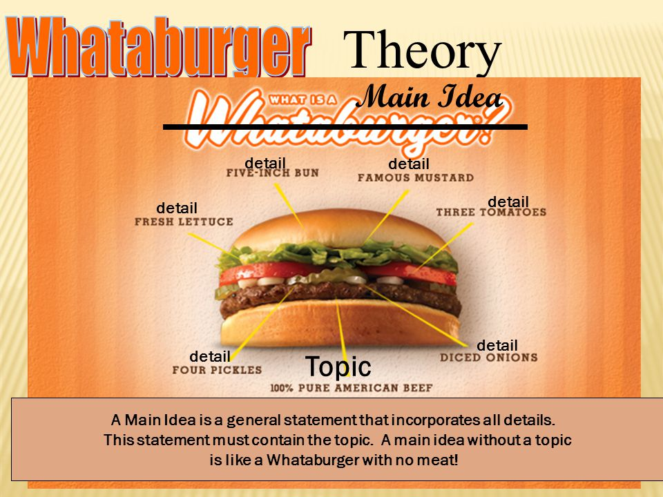 Theory A Main Idea is a general statement that incorporates all details. This statement must contain the topic. A main idea without a topic is like a