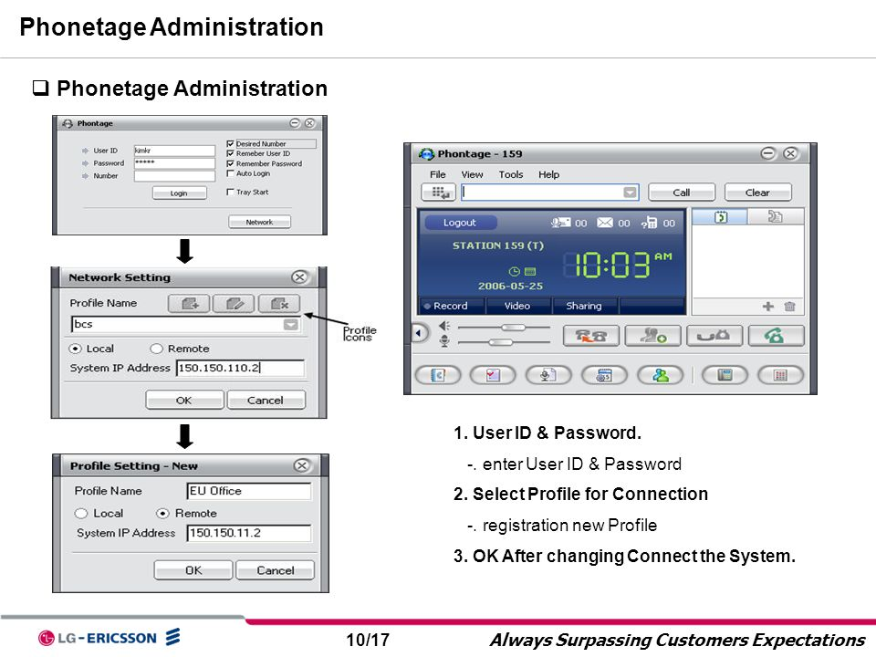 10/17 Always Surpassing Customers Expectations Phonetage Administration  Phonetage Administration 1. User ID & Password. -. enter User ID & Password
