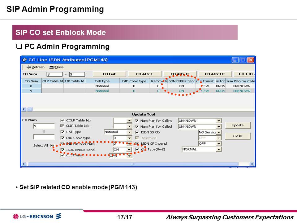 17/17 Always Surpassing Customers Expectations SIP Admin Programming SIP CO set Enblock Mode  PC Admin Programming Set SIP related CO enable mode (PG