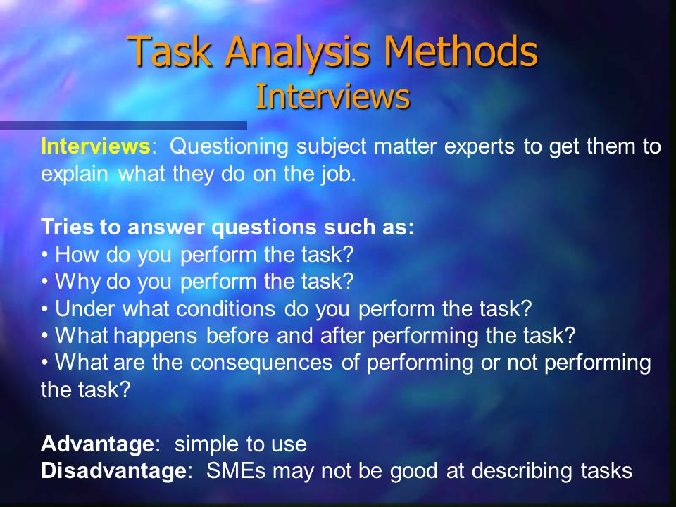 Task Analysis Methods Interviews Interviews: Questioning subject matter experts to get them to explain what they do on the job.