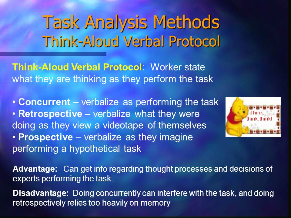 Task Analysis Methods Think-Aloud Verbal Protocol Think, think, think.