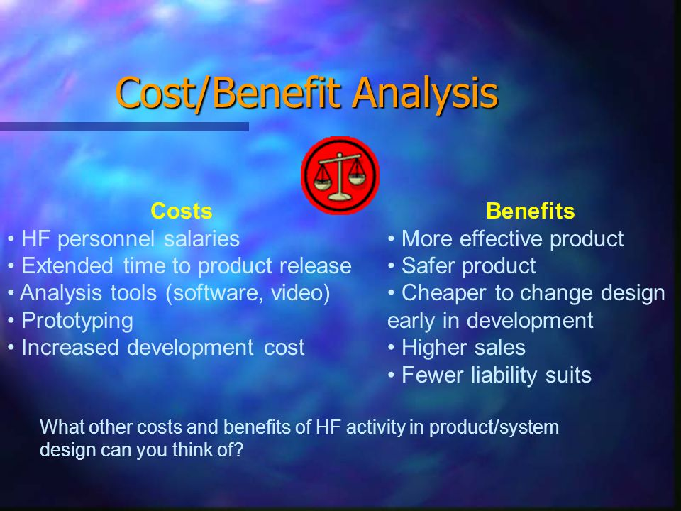 Cost/Benefit Analysis Costs HF personnel salaries Extended time to product release Analysis tools (software, video) Prototyping Increased development cost Benefits More effective product Safer product Cheaper to change design early in development Higher sales Fewer liability suits What other costs and benefits of HF activity in product/system design can you think of