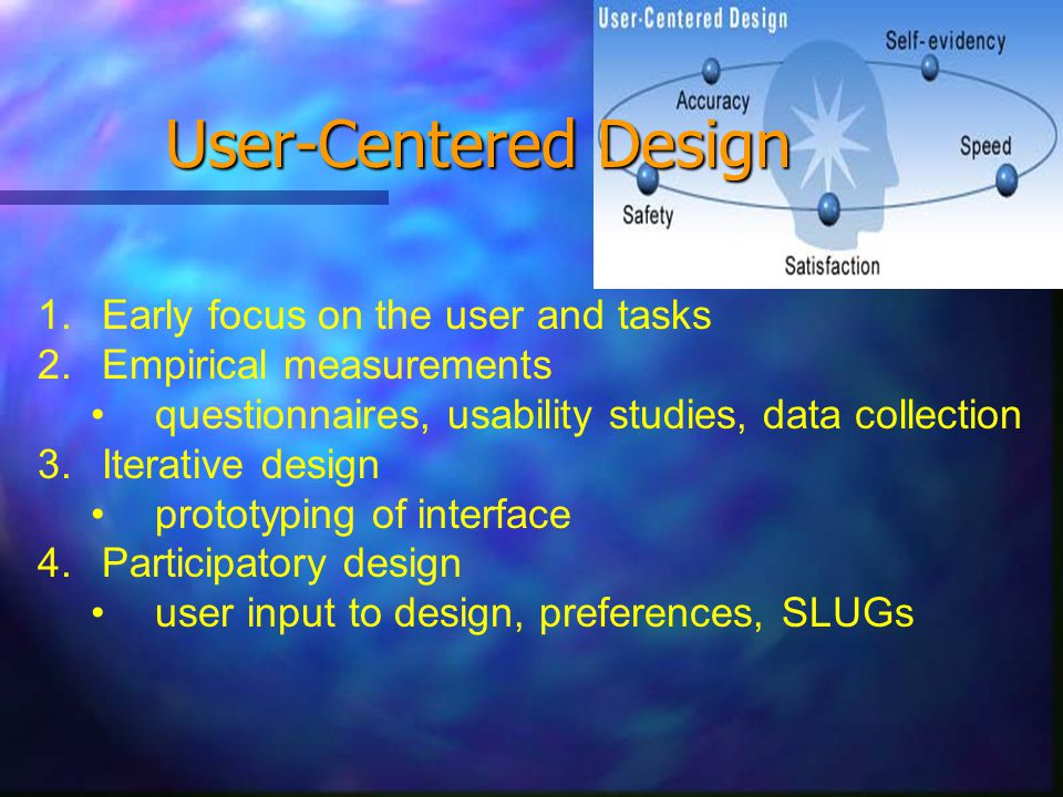 User-Centered Design 1. Early focus on the user and tasks 2.