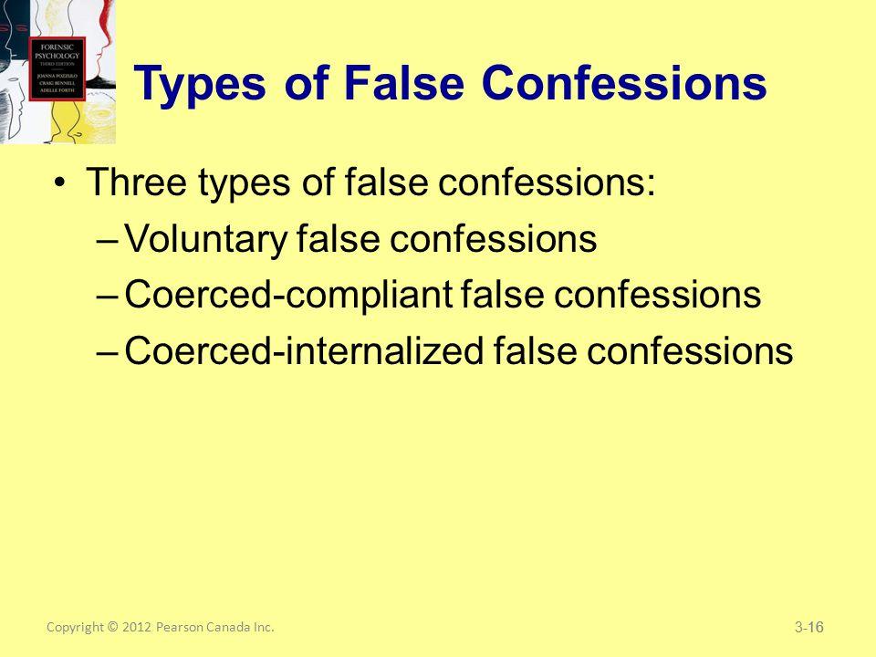 Copyright © 2012 Pearson Canada Inc.16 Types of False Confessions Three types of false confessions: –Voluntary false confessions –Coerced-compliant false confessions –Coerced-internalized false confessions 3-16