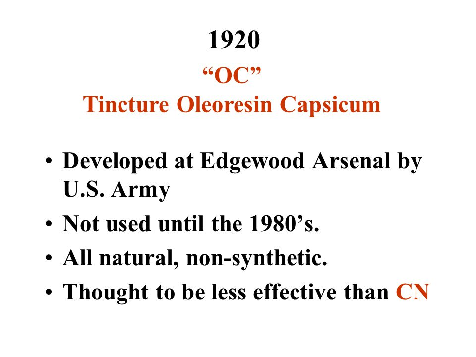 1920 OC Tincture Oleoresin Capsicum Developed at Edgewood Arsenal by U.S.