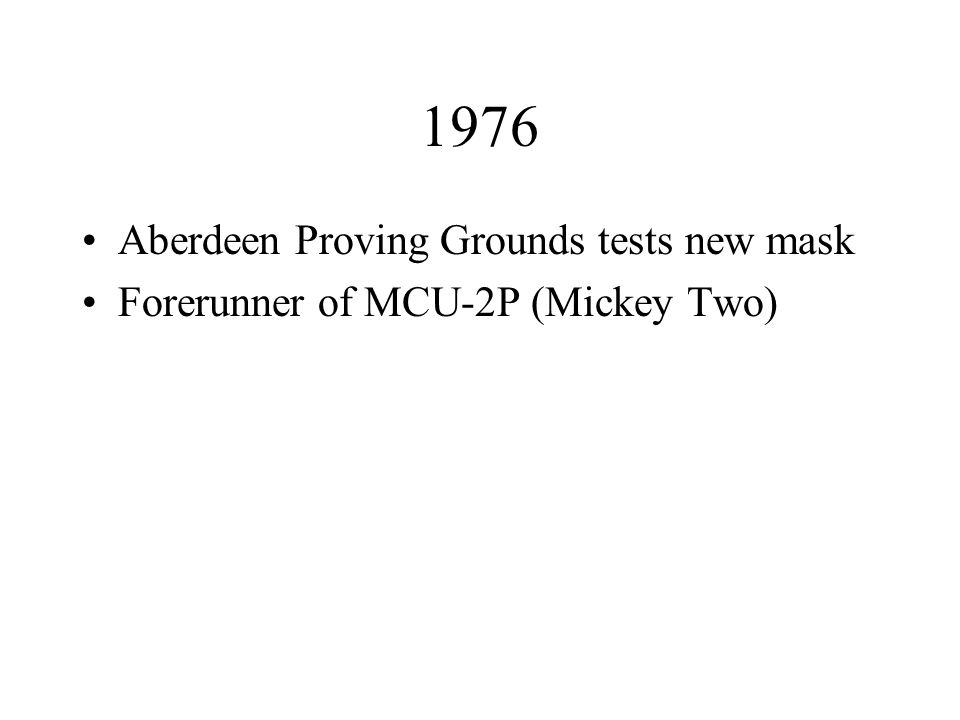 1976 Aberdeen Proving Grounds tests new mask Forerunner of MCU-2P (Mickey Two)