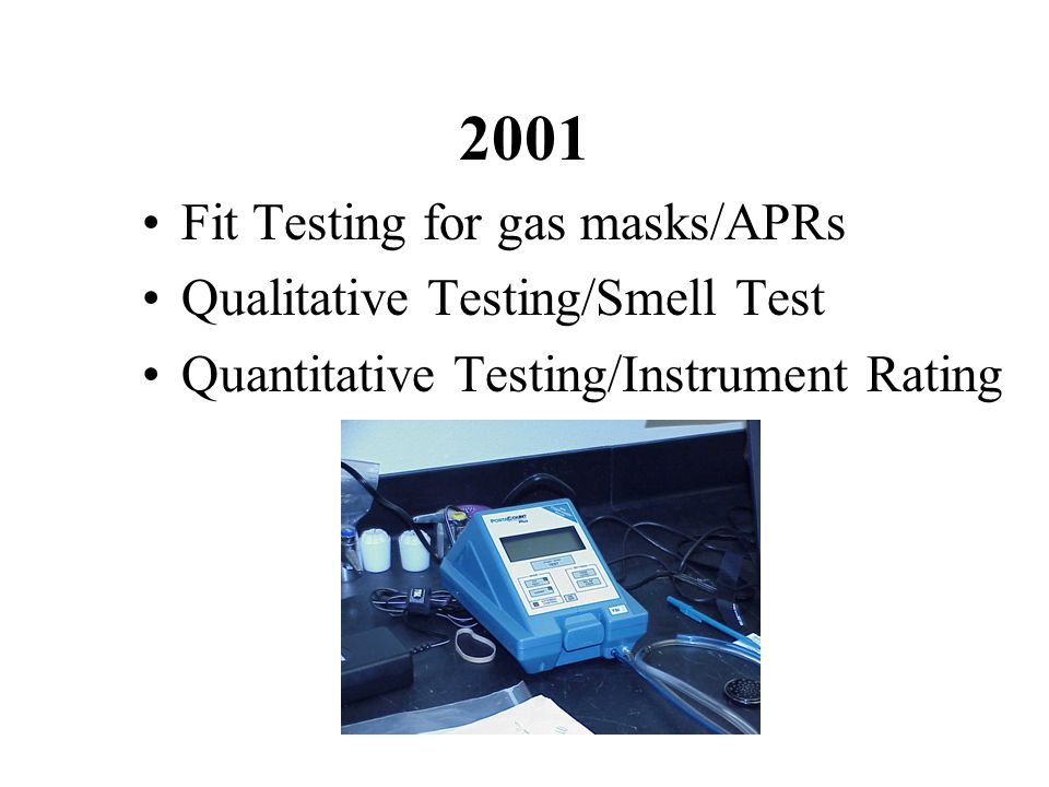 2001 Fit Testing for gas masks/APRs Qualitative Testing/Smell Test Quantitative Testing/Instrument Rating