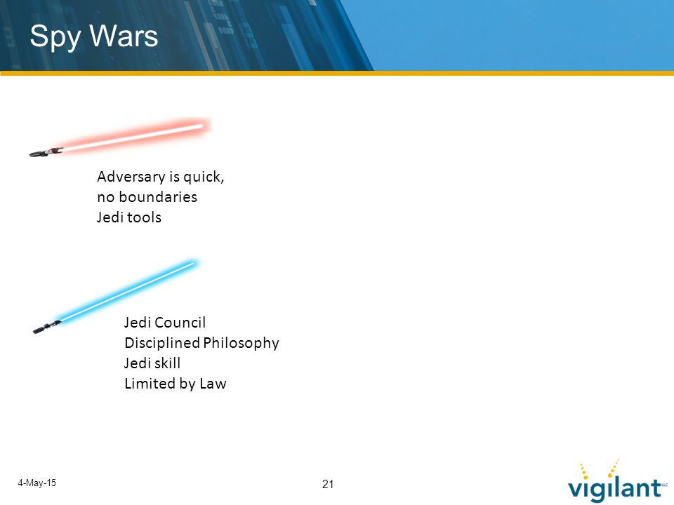 4-May-15 21 Spy Wars Adversary is quick, no boundaries Jedi tools Jedi Council Disciplined Philosophy Jedi skill Limited by Law