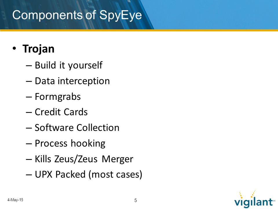 4-May-15 5 Components of SpyEye Trojan – Build it yourself – Data interception – Formgrabs – Credit Cards – Software Collection – Process hooking – Kills Zeus/Zeus Merger – UPX Packed (most cases)